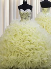 Deluxe Rolling Flowers Brush Train Floor Length Ball Gowns Sleeveless Light Yellow 15th Birthday Dress Lace Up