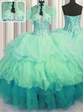 Best Zipple Up See Through Back Sleeveless Beading and Ruffles Floor Length 15 Quinceanera Dress