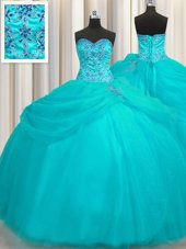 Extravagant Turquoise Quinceanera Dress Strapless Sleeveless Sweep Train Lace Up