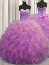 Ball Gowns Sleeveless Orange Quince Ball Gowns Brush Train Lace Up