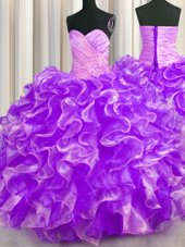 Zipple Up See Through Back Fuchsia Organza Zipper Straps Sleeveless Floor Length Ball Gown Prom Dress Beading and Ruffles