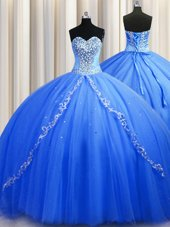 Exquisite Brush train Blue Sleeveless Beading Lace Up Quince Ball Gowns
