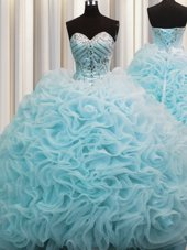 Rolling Flowers Sleeveless Beading and Pick Ups Lace Up Quinceanera Gowns with Aqua Blue Brush Train