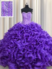 Customized Visible Boning Purple Ball Gowns Beading and Ruffles Quinceanera Dress Lace Up Organza Sleeveless Floor Length