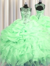 Most Popular Scoop See Through Apple Green Sleeveless Floor Length Beading and Ruffles and Pick Ups Lace Up Quinceanera Gown