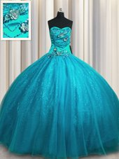 Tulle Sleeveless Quinceanera Dress Sweep Train and Beading