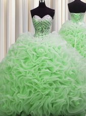 Beauteous Rolling Flowers Brush Train Sweetheart Neckline Beading and Pick Ups Quinceanera Gowns Sleeveless Lace Up