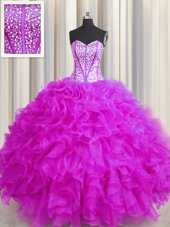 Beading Quinceanera Gowns Lavender Lace Up Sleeveless Sweep Train