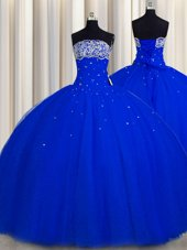 Really Puffy Strapless Sleeveless Quinceanera Dresses Floor Length Beading and Sequins Royal Blue Tulle