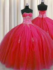 Modest Big Puffy Red Ball Gowns Sweetheart Sleeveless Tulle Floor Length Lace Up Beading and Appliques Sweet 16 Quinceanera Dress