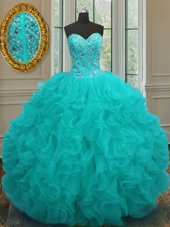 Delicate Aqua Blue Organza Lace Up 15th Birthday Dress Sleeveless Floor Length Beading and Ruffles