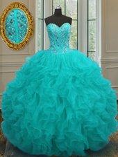 Delicate Aqua Blue Organza Lace Up 15th Birthday Dress Sleeveless Floor Length Beading and Ruffles
