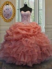 Orange Red Lace Up Sweetheart Beading and Pick Ups Sweet 16 Dresses Organza Sleeveless
