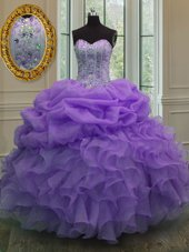 Latest Lavender Sleeveless Floor Length Beading and Pick Ups Lace Up Quinceanera Gowns