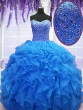 Gorgeous Organza Sweetheart Sleeveless Lace Up Beading and Ruffles Sweet 16 Dress in Royal Blue