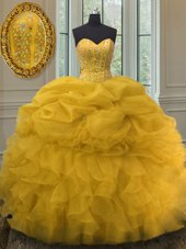 Charming Sweetheart Sleeveless Quince Ball Gowns Floor Length Beading and Ruffles and Pick Ups Gold Organza