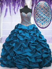 Suitable Blue Ball Gowns Taffeta Sweetheart Sleeveless Beading and Sequins and Pick Ups Floor Length Lace Up 15 Quinceanera Dress