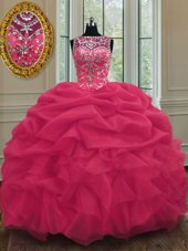 Scoop Coral Red Sleeveless Beading and Pick Ups Floor Length 15th Birthday Dress