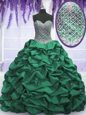 Dark Green Quince Ball Gowns Military Ball and Sweet 16 and Quinceanera and For with Beading and Sequins and Pick Ups Sweetheart Sleeveless Lace Up