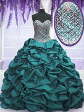 Ideal Teal Sweetheart Neckline Beading and Sequins and Pick Ups Vestidos de Quinceanera Sleeveless Lace Up