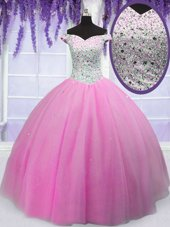 Off the Shoulder Short Sleeves Floor Length Lace Up Vestidos de Quinceanera Hot Pink and In for Military Ball and Sweet 16 and Quinceanera with Beading