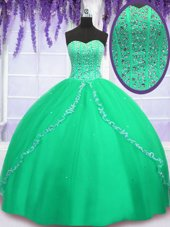 Chic Tulle Sweetheart Sleeveless Lace Up Beading and Sequins Quinceanera Gown in Green