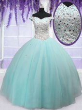 Custom Design Off the Shoulder Floor Length Ball Gowns Short Sleeves Light Blue Quinceanera Gowns Lace Up