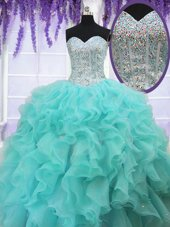 Aqua Blue Sleeveless Floor Length Ruffles and Sequins Lace Up 15 Quinceanera Dress