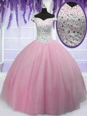 Pretty Off the Shoulder Beading 15th Birthday Dress Baby Pink Lace Up Short Sleeves Floor Length