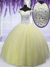 Free and Easy Light Yellow Off The Shoulder Lace Up Beading Sweet 16 Dress Short Sleeves
