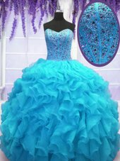 Baby Blue Sweet 16 Dress Military Ball and Sweet 16 and Quinceanera and For with Beading and Ruffles Sweetheart Sleeveless Lace Up
