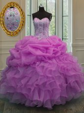 Stylish Sweetheart Sleeveless Organza Sweet 16 Dresses Beading and Ruffles and Pick Ups Lace Up