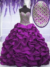Elegant Purple Sleeveless Beading and Sequins and Pick Ups Floor Length 15 Quinceanera Dress