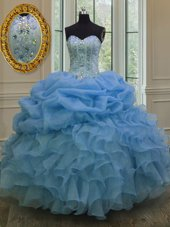 Cute Beading and Pick Ups Sweet 16 Dress Blue Lace Up Sleeveless Floor Length