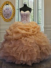 Pretty Gold Organza Lace Up Sweetheart Sleeveless Floor Length Quinceanera Dresses Beading and Pick Ups