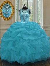 Super Scoop Sleeveless Quince Ball Gowns Floor Length Beading and Pick Ups Baby Blue Organza