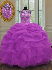 Scoop Floor Length Lilac Sweet 16 Quinceanera Dress Organza Sleeveless Beading and Pick Ups