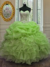 New Arrival Sleeveless Floor Length Beading and Pick Ups Lace Up Ball Gown Prom Dress with