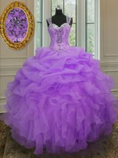 Artistic Straps Sleeveless Zipper Quince Ball Gowns Lavender Organza
