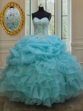 Exquisite Pick Ups Sweetheart Sleeveless Lace Up Quinceanera Dresses Baby Blue Organza