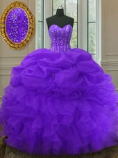 Purple Lace Up Sweetheart Beading and Ruffles and Pick Ups Quinceanera Dresses Organza Sleeveless
