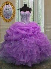 Customized Pick Ups Floor Length Ball Gowns Sleeveless Lilac Sweet 16 Dress Lace Up