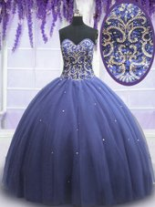 Tulle Sweetheart Sleeveless Lace Up Beading Vestidos de Quinceanera in