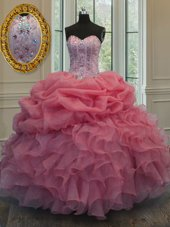Sleeveless Lace Up Floor Length Beading and Pick Ups Sweet 16 Quinceanera Dress