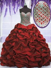 Clearance Wine Red Taffeta Lace Up Sweetheart Sleeveless Floor Length Quinceanera Dress Beading and Sequins and Pick Ups