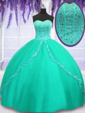 Turquoise Ball Gowns Beading and Sequins Quinceanera Gowns Lace Up Tulle Sleeveless Floor Length