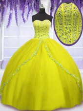 Yellow Green Ball Gowns Beading 15th Birthday Dress Lace Up Tulle Sleeveless Floor Length