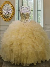 Scoop Organza Sleeveless Floor Length Sweet 16 Quinceanera Dress and Beading and Ruffles