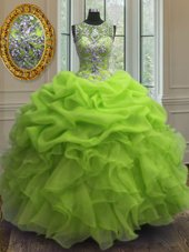 Great Lavender Organza Zipper Quinceanera Gown Sleeveless Floor Length Beading and Ruffles and Pick Ups