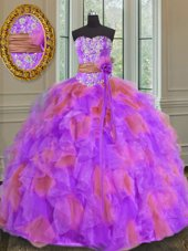 Sweet Multi-color Ball Gowns Sweetheart Sleeveless Organza Floor Length Lace Up Beading and Ruffles and Sashes|ribbons and Hand Made Flower Sweet 16 Quinceanera Dress